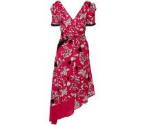 Asymmetric Twist-front Floral-print Crepe De Chine Dress