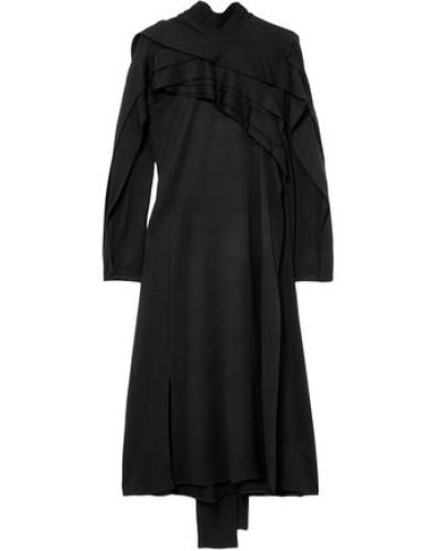 Stretch-jersey Turtleneck Midi Dress Black