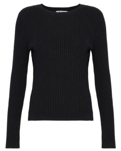 Ribbed Merino Wool-blend Top Black