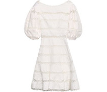 Woman Swiss-dot And Crocheted Linen And Cotton-blend Mini Dress Off-white