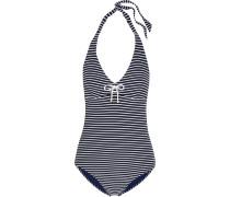 Striped Halterneck Swimsuit Mitternachtsblau