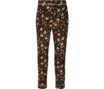 Giulia floral-print silk crepe de chine slim-leg pants