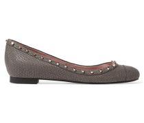 Callan Studded Lizard-effect Leather Ballet Flats Dunkelgrau