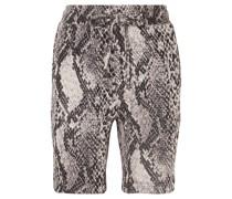 Strike Cropped Cotton-blend Snake-jacquard Shorts