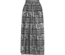 Ora Metallic Cotton-blend Lace Maxi Skirt Silber