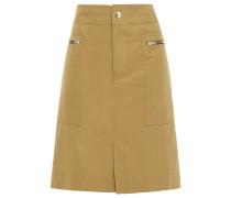 Zip-detailed Cotton-blend Twill Skirt