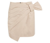Wrap-effect coated cotton-blend mini skirt
