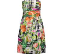 Ruched Printed Cotton Mini Dress Mehrfarbig