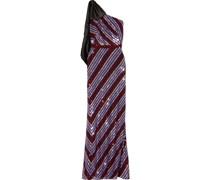 Robe aus Tüll mit Pailletten, Schleife und Asymmetrischer Schulterpartie