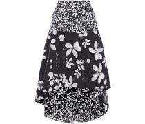 Woman Asymmetric Floral-print Cotton-blend Skirt Navy