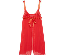 Tulle, Lace And Satin Babydoll Chemise Rot