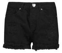 Distressed Denim Shorts Schwarz