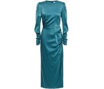 Ruched Stretch-silk Satin Midi Dress