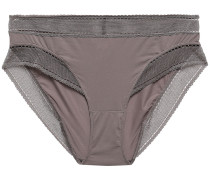 Peau D'ange Legere Mesh-trimmed Stretch-jersey Mid-rise Briefs