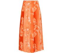 Pleated Printed Crepe Midi Skirt Orange