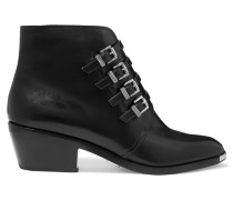 Peggie Buckled Leather Ankle Boots Schwarz