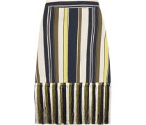 Zephyr fringed striped slub silk skirt