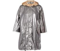 Coated metallic textured-leather hooded jacket