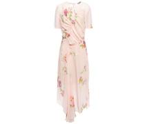 Asymmetric Ruched Floral-print Crepe De Chine Midi Dress