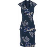 Floral-appliquéd embroidered crepe de chine dress