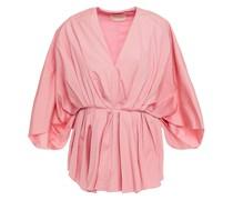 Bluse aus Baumwollpopeline mit Falten und Schößchen