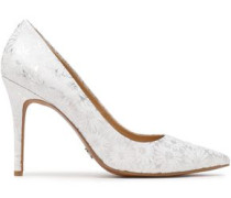 Claire Embossed Leather Pumps Off-white