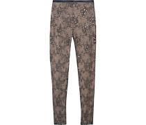 Embellished Lace And Silk Skinny Pants Grau