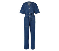 Marble Belted Ruffled Denim Jumpsuit