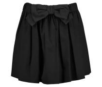 Bow-embellished Stretch-cotton Poplin Mini Skirt Schwarz