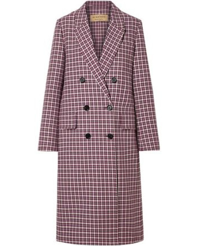 Woman Double-breasted Checked Cotton-blend Coat Burgundy