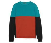 Color-block Merino Wool Sweater Türkis