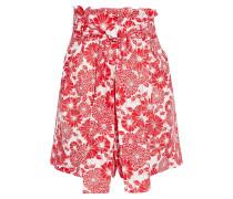 Belted Gathe Floral-print Linen Shorts