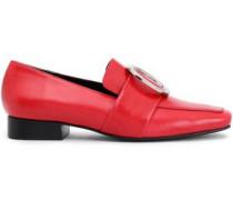 Embellished Velvet Loafers Red