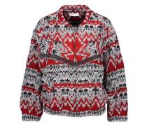 Goldy fringed intarsia-knit jacket