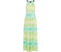 Embellished printed silk crepe de chine jumpsuit