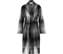 Fringed checked wool-blend felt coat