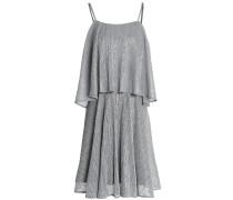 Woman Layered Plissé Lamé Mini Dress Silver