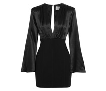 Sandy Gathered Silk-satin And Crepe Mini Dress