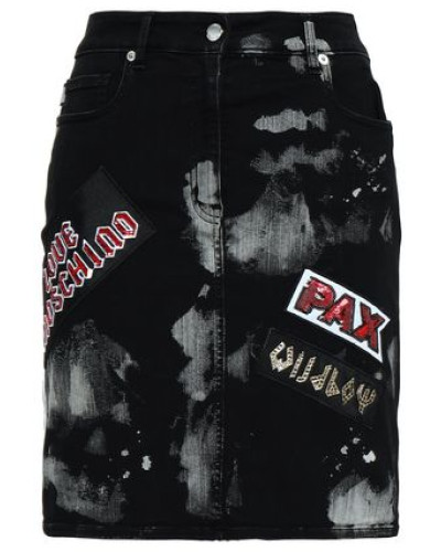 Embellished Bleached Denim Mini Skirt Black
