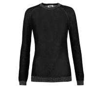 Metallic Stretch-knit Sweater Schwarz