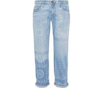 The Boyfriend Cropped Printed Mid-rise Jeans Heller Denim