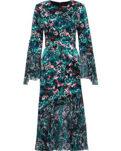Printed Chiffon-paneled Silk-satin Dress Emerald