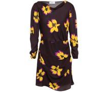 Draped Floral-print Silk-crepe Mini Dress