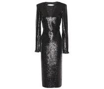 Open-back Lace-trimmed Sequined Crepe Midi Dress