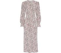Tigresse Printed Silk Crepe De Chine Midi Dress
