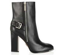 Janell Buckled Leather Boots Schwarz