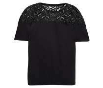 Guipure Lace And Cotton And Modal-blend Jersey T-shirt