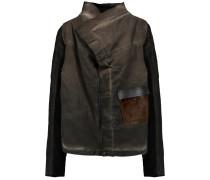 Dark Shadow Exploder Leather And Calf Hair-trimmed Washed Stretch-denim Jacket Mehrfarbig