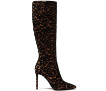 Corded Lace-appliquéd Suede Knee Boots