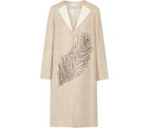 Ange Embellished Linen And Cotton-blend Coat Neutral